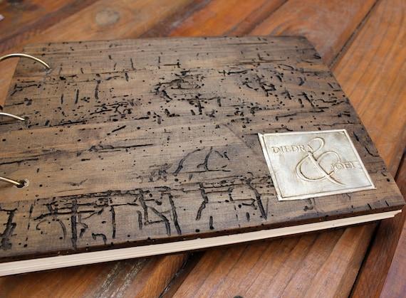 Personalized Wedding Album made of Rustic Wood with embossed aluminum monogram in antique gold