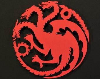 SALE * LAST AVAILABLE * Targaryen Sigil - Game of Thrones Paper Cut