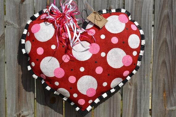 VALENTINE  Polka Dot Heart Burlap Door Hanger