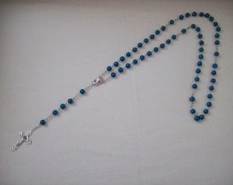 Handmade Teal Blue Glass Pearl Bead Link Rosary