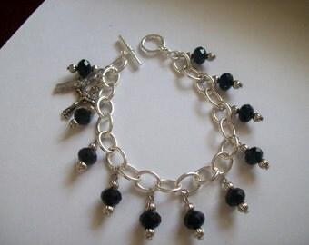 Handmade Our Lady of Mt. Carmel Black Swarovski Rosary Bracelet