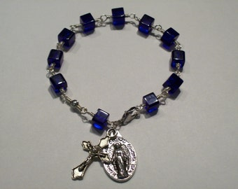 Wire Wrapped Sapphire Blue Cube Glass Rosary Bracelet