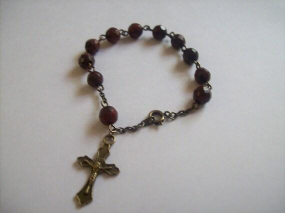 Handmade Deep Red and Espresso Jasper Rosary Bracelet
