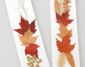 BOTANICAL FLOWER BOOKMARKS, Set of 2, Natural Pressed Materials, Fall Foliage Autumn Colors - MyHumbleJumble