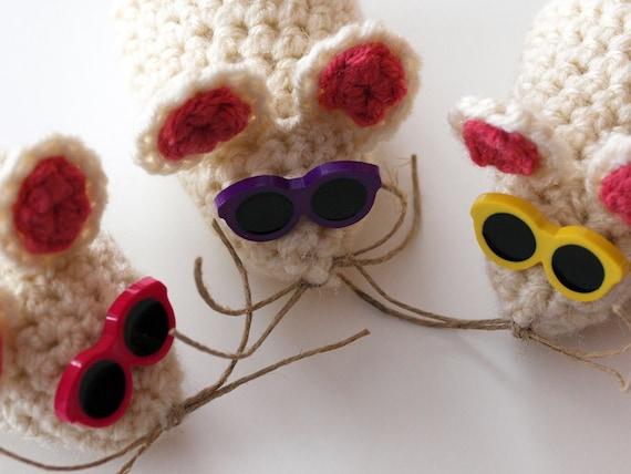 3 BLIND MICE - Trio of Crochet Amigurumi Mice with Sunglasses