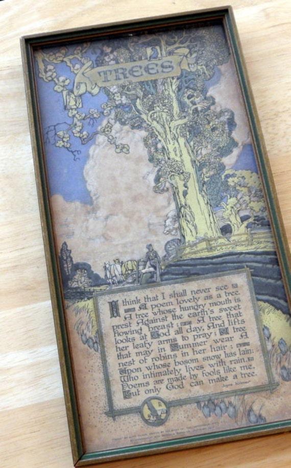 Vintage Poem Print Buzza Company Joyce Kilmer Trees Poem Print