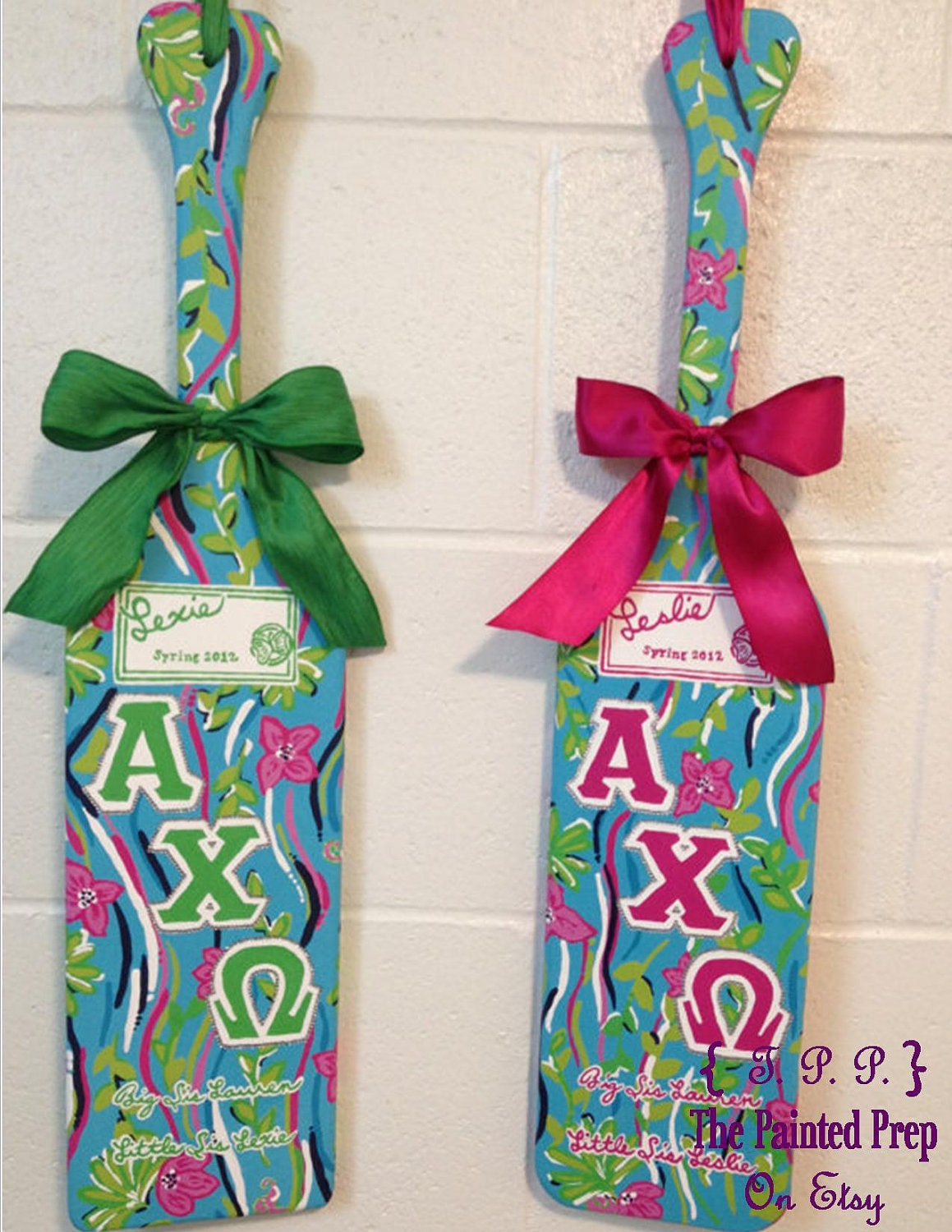 lilly pulitzer esque custom made greek sorority wooden paddle