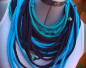 Upcycled Layered Tshirt Infinity Scarf, Necklace, Glass Beads, Hand Shredded, Eco Friendly, Handmade