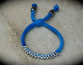 FuNk StAckz stackable BRACELET, upcycled, blue, adjustable, hemp chord, beaded, rhinestones, Eco Friendly, Handmade by UniverSoulWear