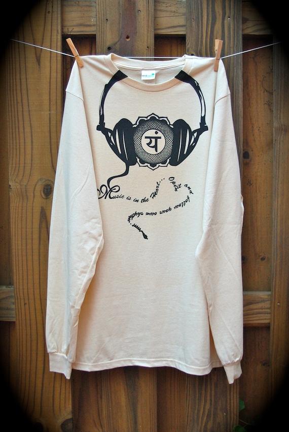 Men's Organic Long Sleeve Tshirt, Size Large, Screenprinted, Eco Friendly, Handmade