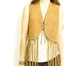 60s EASY RiDER FRiNGE FESTiVAL VEST / classic hippie / super long fringe / sienna / honey