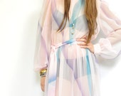 labor day sale 70s SHEER PASTEL DRESS / whimsical cotton candy colors / pale pink / blues / midi / poet sleeve