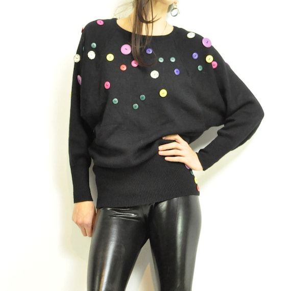 ViNTAGE BATWiNG BUTTONS SWEATER / colorful buttons all over / abstract / artsy / soft black cotton weave / xs-m