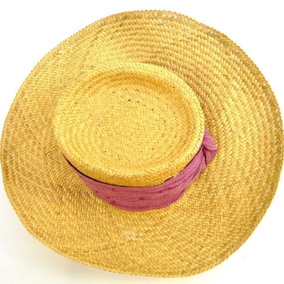 R e s e r v e d f o r A r l e n e ViNTAGE SUMMER HAT / classic woven straw / deep pink gauze band / safari / cabana / fedora / wide brim .