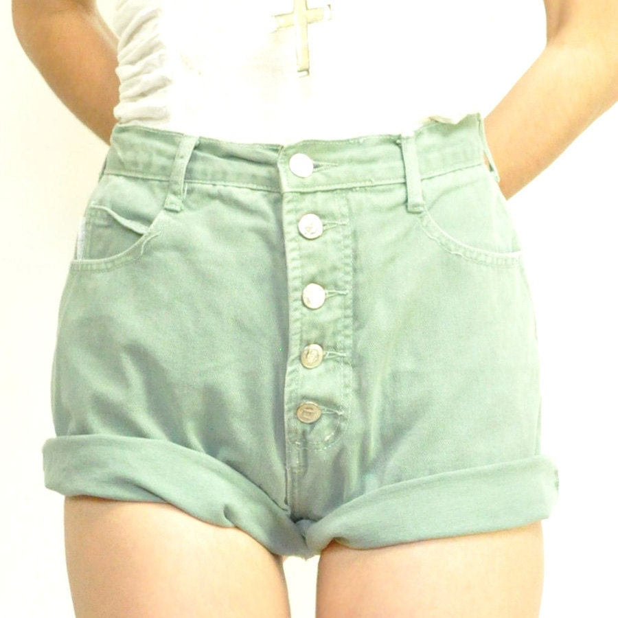 Jeans Shorts: Vintage High Waisted Jeans Shorts
