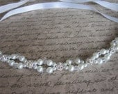 The Courtney Headband - Silver crystal balls with swarovski pearls & crystals ribbon headband.