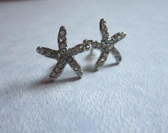 Rhinestone Pencil Starfish Earrings