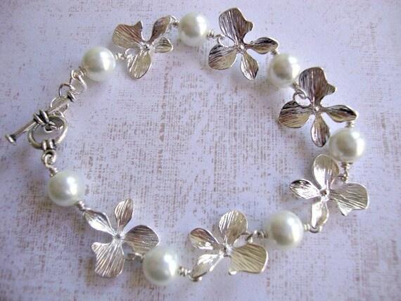 The Madison Bracelet - Swarovski pearl & silver orchid bracelet