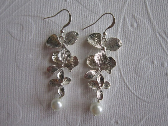 The Alexa Set  - Silver cascading orchids with a white swarovski pearl necklace & earring set
