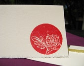 Round Red Glittery Rose, Set of Five Cards