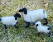 Felted Sheep, Set of Three Snow White Black Faced With Free Baby Lamb  Handmade, Nativity Animals, Christmas Decoration