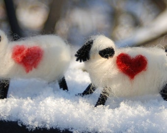 Love You, Love Ewe Lamb, Felted Sheep, Valentine Gift, Your Choice Of Colors