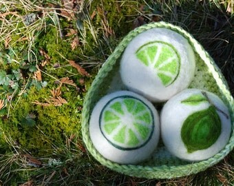 Lime Infused Dryer Balls, Sachet, Lime Green With Crocheted Cotton Bowl, Eco Friendly, Natural