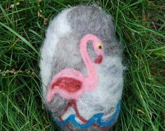 Pink Flamingo Felted Soap Tropical