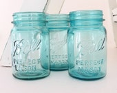 Blue Ball Mason Jars (3) Pint size