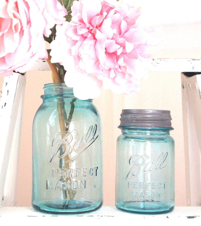 blue ball mason jars 2 quart size with zinc milk glass lids. Black Bedroom Furniture Sets. Home Design Ideas