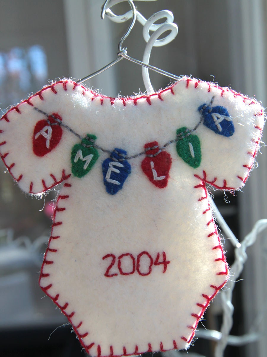 Personalized onesie Christmas ornament Made to order