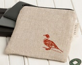 d u c k . Small Eco Friendly Linen Duck Pouch . FREE SHIPPING