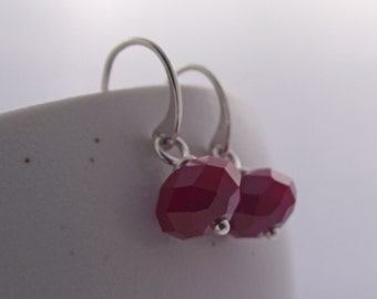 50% off Black Friday Sale!  Earrings with Red Velvet Crystal on Sterling Wires