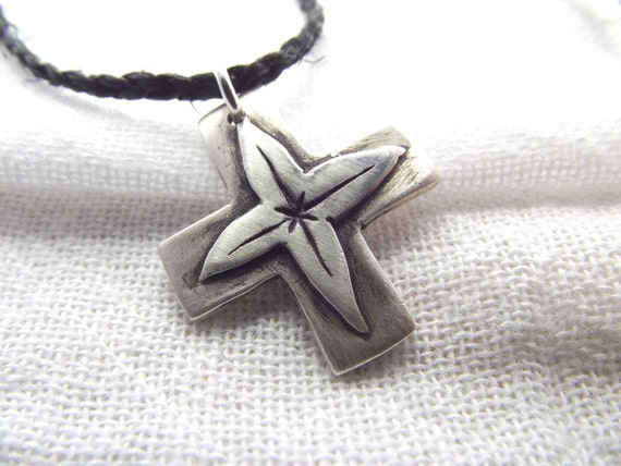 Pure Silver Gnostic Cross Necklace on Hand Braided Hemp Cord by 13penguins