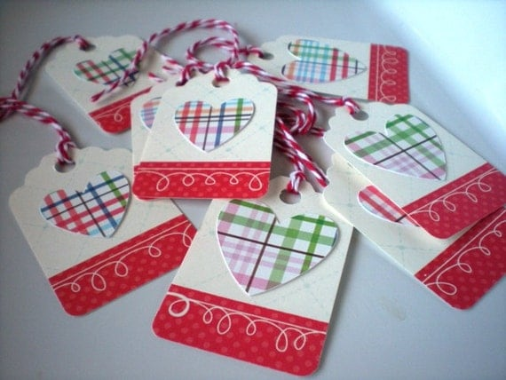 Plaid Heart Paper Tags Set of 8 with Twine