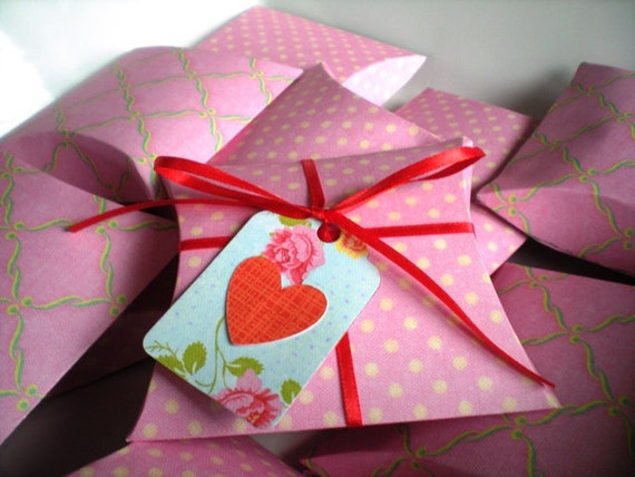 Valentines Pink Pillow Boxes-pink paper favor boxes, ribbon and tags, set of 10