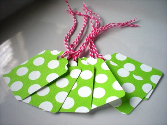 Bright Green Polka Dot Paper Tags with Pink and White Bakers Twine-Set of 12