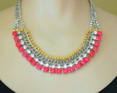 painted neon rhinestone necklace Candy Pink