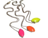 neon necklace pink Cats Eye