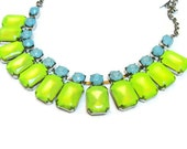 neon jewelry painted rhinestone necklace Candy Collar yellow baby blue