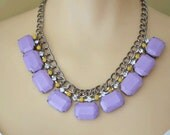 pastel rhinestone necklace Candybox Curbchain Collar lilac and yellow