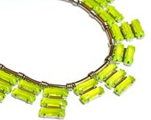 SPECIAL PRICING neon jewelry painted rhinestone necklace Neon Acid Green/Yellow