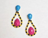 painted rhinestone colorblock earrings Turquoise Pink Yellow
