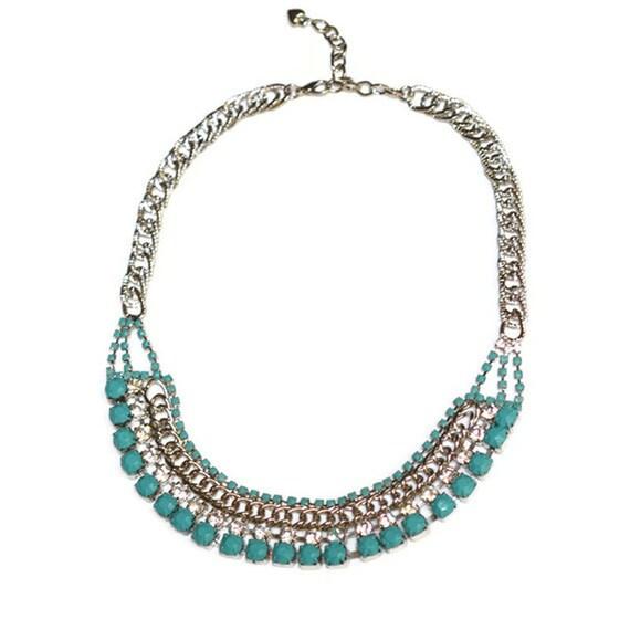 painted rhinestone necklace tiffany Blue