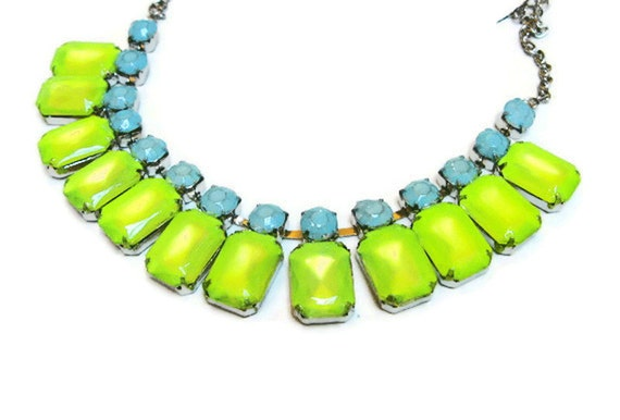 neon jewelry painted rhinestone necklace Candy Collar acid yellow baby blue