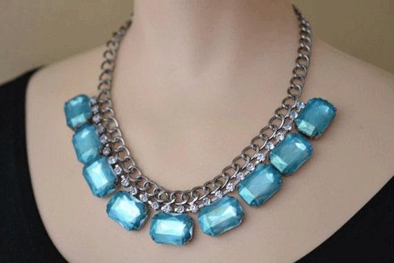 painted rhinestone necklace Caribbean Blue Glow collar