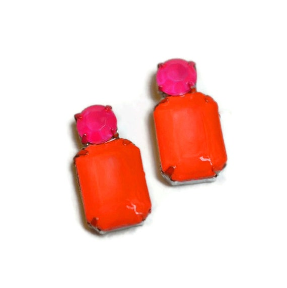 painted rhinestone earrings Neon Pink and Orange hypoallergenic surgical stainless steel posts