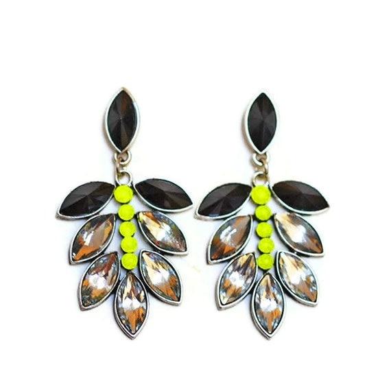 neon rhinestone earrings Yellow Neon Petal Pyramid