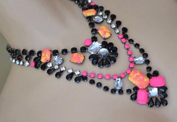 neon jewelry painted rhinestone statement necklace Neon Swirl
