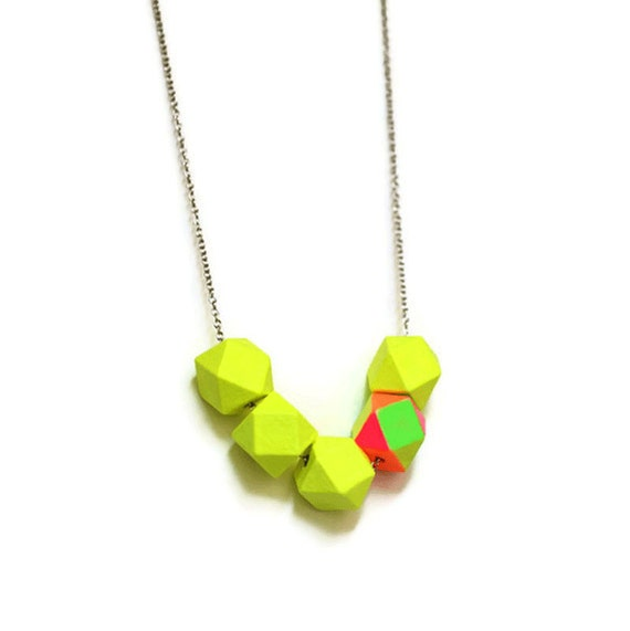 geometric necklace Neon Dayglo Yellow colorblock